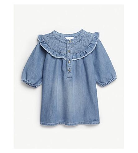 CHLOE Long-sleeved denim dress 12 months (Denim+blue