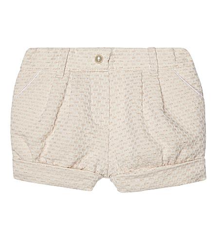 CHLOE Sparkle tweed cotton shorts 6-36 months (Pale+pink