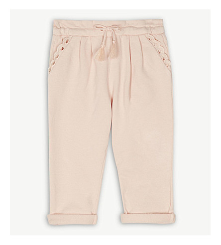 CHLOE Frilled detail cotton jogging bottoms 6-36 months (Pink