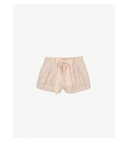 CHLOE Glitter tweed bow shorts 6-36 months (Pink