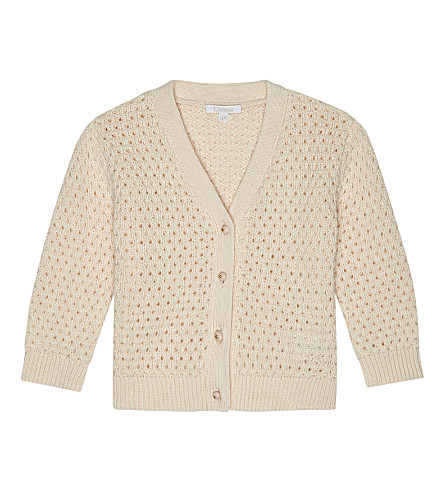 CHLOE Knitted cotton-blend cardigan 6-36 months (Pale+pink