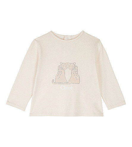 CHLOE Leopard cotton & modal long-sleeved top 6-36 months (Pale+pink