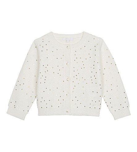 CHLOE Cotton and wool sequin cardigan 6-36 months (Ivory