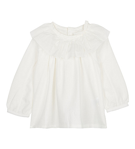 CHLOE Frilled collar cotton blouse 6-36 months (Ivory