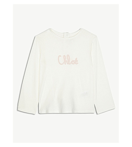 CHLOE Logo cotton-blend top 6-36 months (White