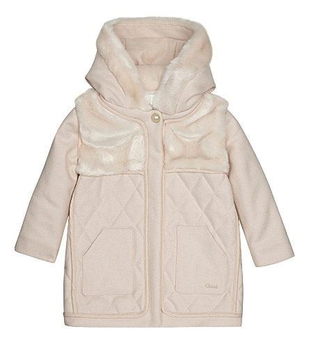 CHLOE Hooded faux fur wool coat 4-14 years (Pink