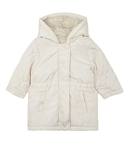 CHLOE Faux-fur lined quilted puffa coat 6-36 months (Pale+pink