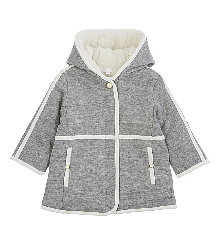 CHLOE Cotton jersey fleece-lined coat 6-36 months (Grey