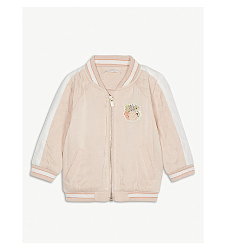 CHLOE Quilted pineapple appliqué satin jacket 6-36 months (Pink