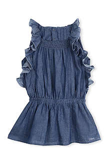 CHLOE Chambray ruffle dress 3 months - 3 years