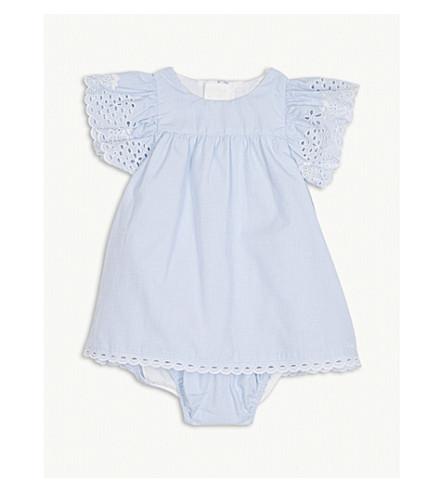 CHLOE Frill sleeve cotton dress 3-9 months (Blue