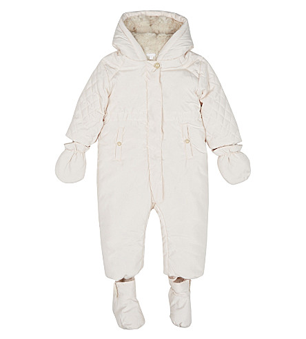 CHLOE Faux-fur lined quilted snowsuit 1-18 month (Pale+pink