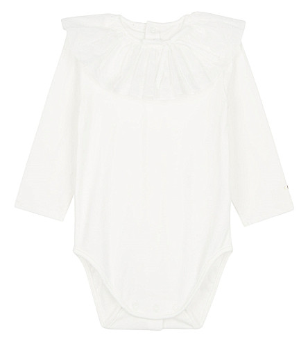 CHLOE Frilled collar cotton body suit 3-18 months (White