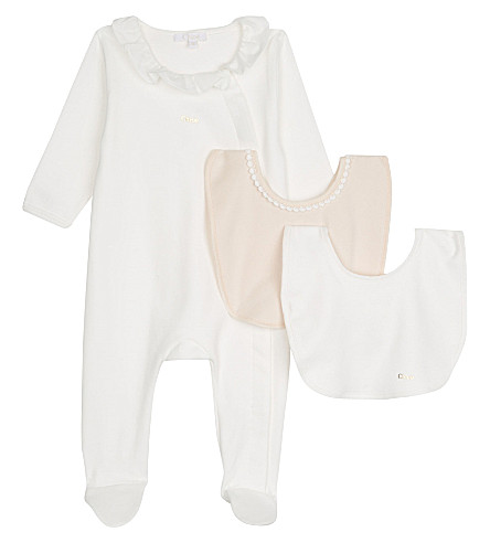 CHLOE Branded cotton all-in-one & bibs set 1-6 months (White