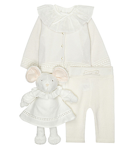CHLOE Mouse knitted outfit set 3-6 months (Ivory