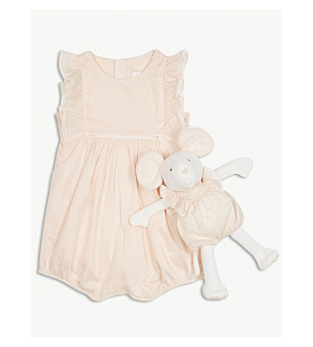 CHLOE Frilled cotton romper and mouse toy set 1-9 months (Pink