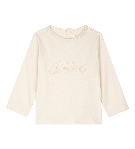 CHLOE Fluffy logo top 6 months - 3 years (Pale+pink
