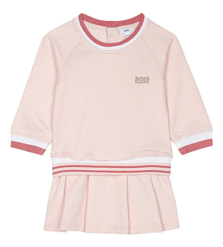 BOSS Striped long sleeved dress 1-18 months (Pink