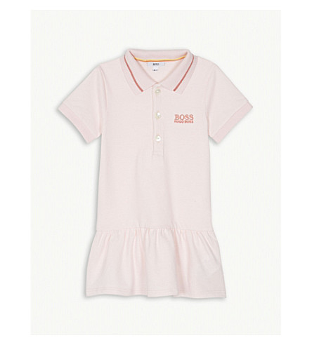 BOSS Pleated cotton polo dress 3-18 months (Pink
