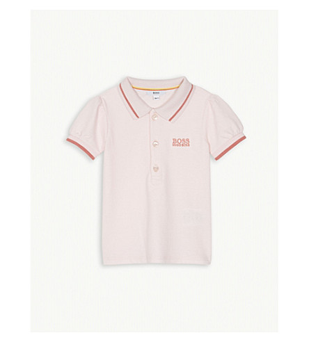 BOSS Striped trim cotton polo shirt 3-18 months (Pink