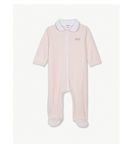 BOSS 徽标天鹅绒 sleepsuit 1-12 月 (粉红色