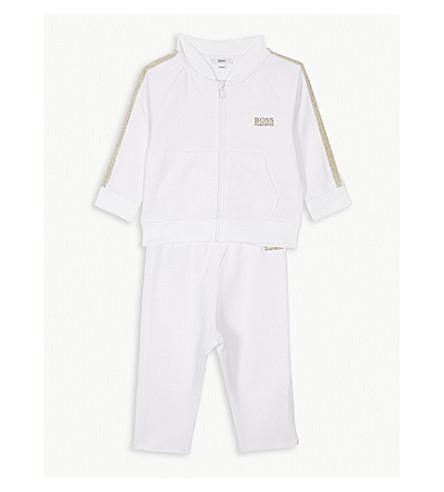 BOSS Logo glitter stripe cotton-blend tracksuit 3-18 months (White