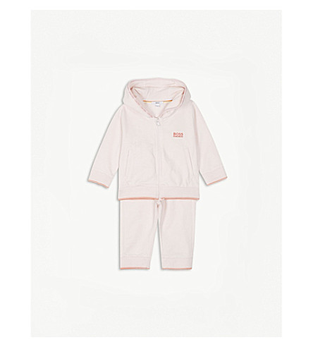 BOSS Logo striped cotton tracksuit 3-18 months (Pink