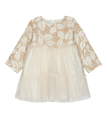 BILLIE BLUSH Sequinned tulle long-sleeved dress 6-36 months (Pale+pink