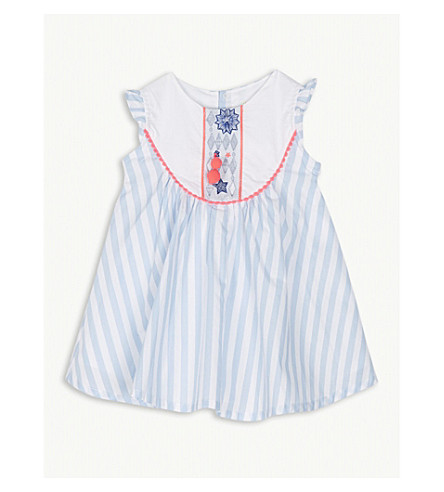 BILLIE BLUSH Pom-pom cotton dress 6-36 months (Blue