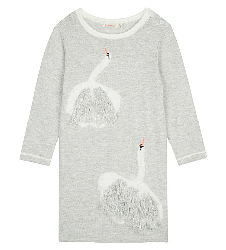 BILLIE BLUSH Swan long sleeved dress 6-18 months (Grey