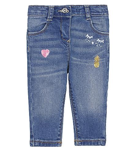 BILLIE BLUSH Sequinned heart jeans 6-36 months (Stone wash