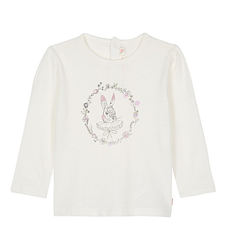 BILLIE BLUSH Rabbit print long-sleeved cotton top 6-36 months (White