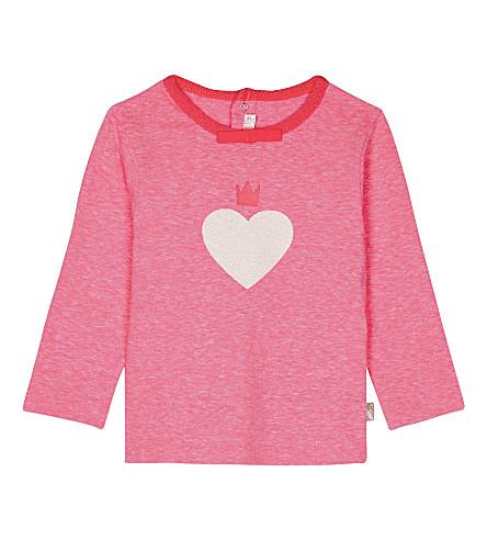 BILLIE BLUSH Heart cotton-blend T-shirt 6-36 months (Hot+pink