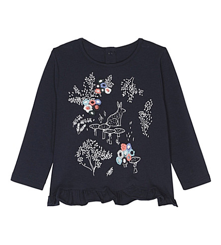 BILLIE BLUSH Flower cotton T-shirt 6-36 months (Navy