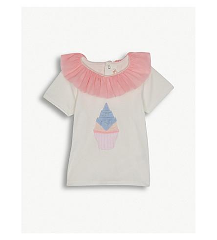 BILLIE BLUSH Appliqué cupcake frilled cotton T-shirt 6-36 months (White
