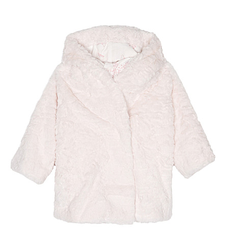 BILLIE BLUSH Faux-fur hooded jacket 6-36 months (Pink