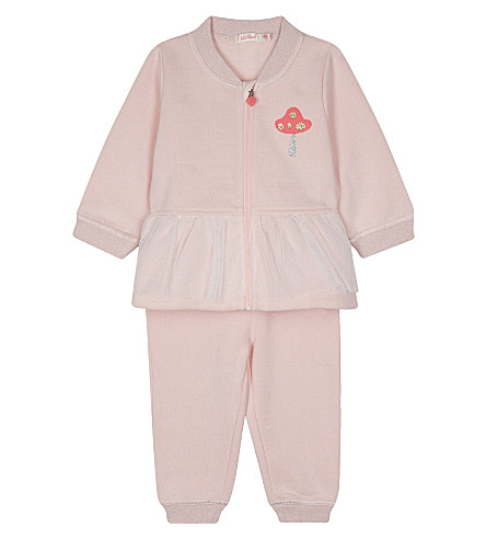 BILLIE BLUSH Tulle-embroidered cotton tracksuit 6-36 months (Pink