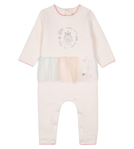 BILLIE BLUSH Tulle-detailed jersey babygrow 3-12 months (Pink