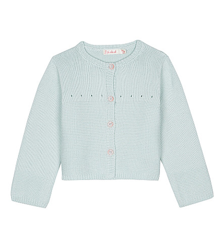 BILLIE BLUSH Knitted eyelet cotton cardigan 6-18 months (Blue