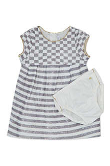 LITTLE MARC Sequinned checkstripe dress 3-36 months