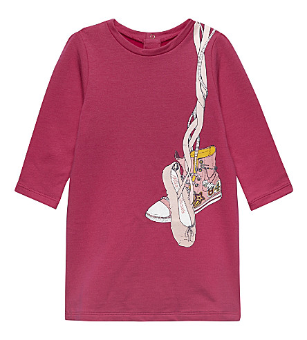 LITTLE MARC Long-sleeve print dress 6-36 months (Hot+pink