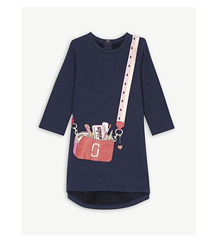 LITTLE MARC Headphones-print cotton-blend jumper dress 6 months-3 years (Navy