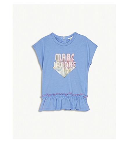 LITTLE MARC Logo print frilled sleeveless cotton-modal blend T-shirt 6-36 months (Blue