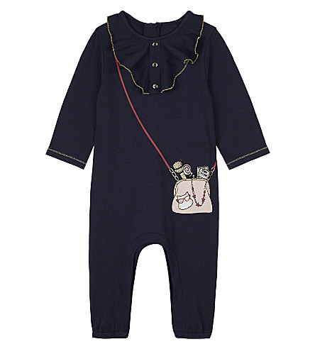 LITTLE MARC Frilled bag print onesie 3-18 months (Navy