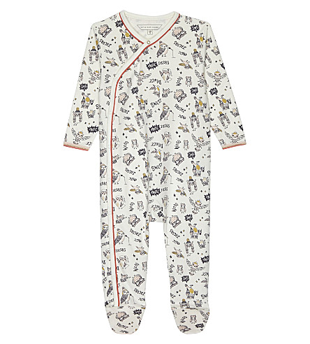 LITTLE MARC Owl print cotton baby-grow 3-12 months (White