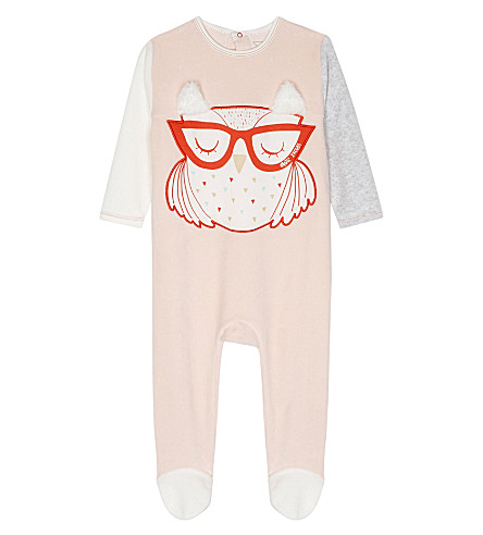 LITTLE MARC Owl velour sleepsuit (Pink