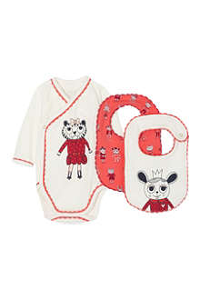 LITTLE MARC Printed bodysuit and bib set 1-6 months