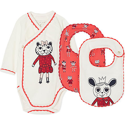 LITTLE MARC Printed bodysuit and bib set 1-6 months (Offwhite