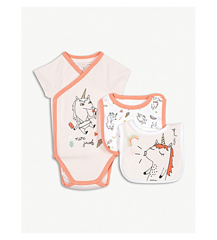 LITTLE MARC Unicorn bodysuit and set of two bibs 3-6 months (Multi