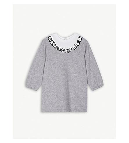 FENDI Heart-embroidered cotton dress 6-24 months (Grey